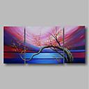 tanie Obrazy olejne-Hang-Malowane obraz olejny Ręcznie malowane - Krajobraz / Kwiatowy / Roślinny Nowoczesne Naciągnięte płótka / Trzy panele / Rozciągnięte płótno