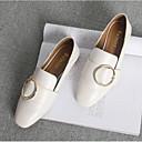 זול נעלים שטוחות לנשים-בגדי ריקוד נשים נעליים עור נאפה Leather קיץ נוחות שטוחות שטוח בוהן סגורה לבן / שחור