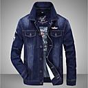 baratos Roupas de Mergulho & Camisas de Proteção-Homens Jaqueta jeans Contemporâneo Colarinho Chinês / Manga Longa