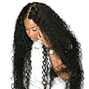 abordables Pelucas Sintéticas con Agarre-Peluca Pelo Natural Remy Encaje Completo Cabello Brasileño Rizado Natural Parte lateral Mujer Densidad 250% con pelo de bebe Diseños de Moda Fiesta Mujer Natural Media Negro Natural Pelucas de
