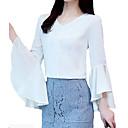 olcso Női csizmák-Üzlet Női Pamut Blúz - Egyszínű, Rojt Puffos Fekete-fehér
