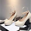 povoljno Ženske sandale-Žene Cipele PU Ljeto Udobne cipele Cipele na petu Kockasta potpetica Bež / Crvena / Plava