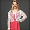 billige Brudesjaler-Dame Daglig Normal Cloak / Capes, Ensfarget V-hals Langermet Polyester Hvit / Svart / Beige En Størrelse