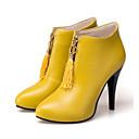 זול מגפי נשים-בגדי ריקוד נשים נעליים PU סתיו חורף מגפיים אופנתיים / מגפיים מגפיים עקב סטילטו בוהן מחודדת מגפונים\מגף קרסול פרנזים שחור / צהוב / אדום / מסיבה וערב