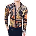 זול שרשראות-חיה / שבטי צווארון קלאסי רזה וינטאג' חולצה - בגדי ריקוד גברים חום / שרוול ארוך / קיץ