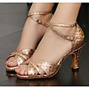 baratos Sapatos de Dança Latina-Mulheres Sapatos de Dança Latina Couro Ecológico Salto Salto Alto Magro Sapatos de Dança Dourado