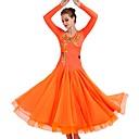 preiswerte Tanzkleidung für Balltänze-Für den Ballsaal Kleider Damen Leistung Elasthan / Organza Applikationen / Horizontal gerüscht / Kristalle / Strass Langarm Kleid