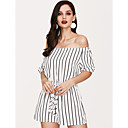 cheap Manicure & Pedicure Tools-Women's Daily / Holiday / Going out Active / Street chic Boat Neck Blue White Wide Leg Romper, Striped M L XL 3/4 Length Sleeve Summer Fall / Club / Beach