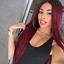 cheap Synthetic Capless Wigs-Synthetic Wig Women's Straight Burgundy Middle Part Synthetic Hair 24 inch Heat Resistant / Ombre Hair Burgundy Wig Long Capless Black / Dark Wine / Yes