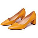 povoljno Ženske ravne cipele-Žene Cipele Mekana koža Proljeće Udobne cipele Cipele na petu Kockasta potpetica Crn / Bijela