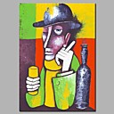 tanie Wydruki-Hang-Malowane obraz olejny Ręcznie malowane - Abstrakcja / Ludzie Nowoczesny Naciągnięte płótka / Rozciągnięte płótno
