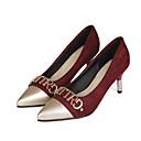 זול נעלי עקב לנשים-בגדי ריקוד נשים נעלי סירה PU אביב עקבים עקב סטילטו שחור / צהוב / Wine