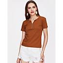 baratos Acessórios de Cabelo-Mulheres Tamanhos Grandes Blusa Básico / Moda de Rua Sólido Decote V / Primavera / Verão