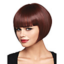 cheap Human Hair Capless Wigs-Synthetic Wig Women's Straight Burgundy Bob Synthetic Hair 12 inch Women / With Bangs Burgundy Wig Short Capless Dark Wine / Yes