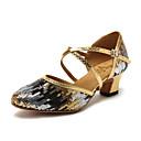 abordables Zapatos de Baile Moderno-Mujer Zapatos de Baile Moderno Sintéticos Zapatilla Flor de Satén / Corte Talón grueso Zapatos de baile Dorado / Azul