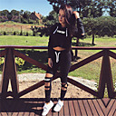 hesapli Fitness, Koşu ve Yoga Kıyafetleri-Kadın's Şalter Tracksuit Siyah Spor Dalları Harf Kapüşonlu Giyecek Pantalonlar Giysi Takımları Zumba Yoga Koşma Uzun Kollu Aktif Giyim Sıcak Tutma Nefes Alabilir Mikro-Esnek / Kış