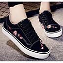 رخيصةأون سنيكرز نسائي-نسائي أحذية الراحة كانفا ربيع & الصيف أحذية رياضية كعب مسطخ أبيض / أسود