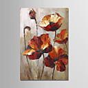 tanie Obrazy olejne-Hang-Malowane obraz olejny Ręcznie malowane - Martwa natura / Kwiatowy / Roślinny Nowoczesny Płótno / Zwijane płótno