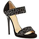 povoljno Ženske sandale-Žene Udobne cipele Mekana koža Ljeto Sandale Stiletto potpetica Crn