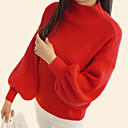 cheap Women's Sandals-Women's Daily Basic Solid Colored Long Sleeve Regular Pullover, Round Neck Fall Red / Gray / Khaki One-Size