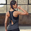 povoljno Odjeća za trčanje-Žene Majica za jogu s ušivenim grudnjakom Open Back 2 u 1 Moda Siva Trčanje Fitness Trening u teretani Potkošulja Bez rukávů Sport Odjeća za rekreaciju Mala težina Prozračnost Veliki utjecaj