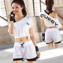 Χαμηλού Κόστους Γυμναστική, τρέξιμο και ρούχα γιόγκα-Γυναικεία Με εσωτερικό σορτς Φόρμα Λευκό Μαύρο Πορτοκαλί Αθλητισμός Γράμμα Ψηλοκάβαλο Κοντά Παντελονάκια Κοντό μπλουζάκι Γιόγκα Τρέξιμο Fitness Κοντομάνικο Ρούχα Γυμναστικής / Υψηλή Ελαστικότητα