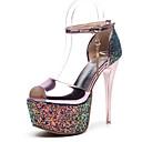 cheap Women's Sandals-Women's PU(Polyurethane) Spring Comfort Heels Stiletto Heel Gold / Silver / Pink / Daily