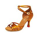 preiswerte Schmuckset-Damen Schuhe für den lateinamerikanischen Tanz Satin Absätze Kubanischer Absatz Tanzschuhe Schwarz / Gelb / Braun