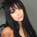 cheap Synthetic Capless Wigs-Synthetic Wig Straight Layered Haircut Synthetic Hair 24 inch Heat Resistant / With Bangs Black Wig Women's Long Capless Natural Black / Yes