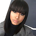 cheap Synthetic Capless Wigs-Synthetic Wig Straight Bob Haircut Synthetic Hair 12 inch Women / African American Wig / With Bangs Black Wig Women's Mid Length Capless Natural Black