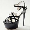 cheap Women's Sandals-Women's Shoes PU(Polyurethane) Spring Comfort Sandals Stiletto Heel White / Black / Red