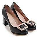 cheap Women's Heels-Women's Pumps Patent Leather Spring Heels Chunky Heel Black / Beige / Pink / Daily