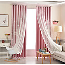 זול וילונות חלון-מודרני Blackout וילונות וילונות שני פנאלים וילון & Sheer / האפלה / רקמה / חדר ילדים