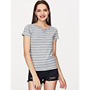 cheap Softshell, Fleece & Hiking Jackets-Women's Holiday Basic Cotton T-shirt - Striped Print V Neck Gray XXXL / Summer / Fine Stripe