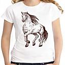 tanie Oświetlenie lustra-T-shirt Damskie Podstawowy, Nadruk Bawełna Wyjściowe Zwierzę