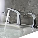 billige Baderomskraner-Baderom Sink Tappekran - Nytt Design Krom Udspredt To Håndtak tre hullBath Taps / Messing