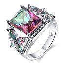 cheap Bracelets-Women's Cubic Zirconia Stylish Ring - S925 Sterling Silver Ladies, Colorful Jewelry Rainbow For Party Gift 6 / 7 / 8 / 9 / 10