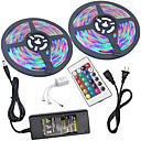 cheap Light Switches-2x5M Light Sets / RGB Strip Lights 300 LEDs 3528 SMD 1 24Keys Remote Controller / 1 X 5A power adapter RGB Waterproof / Cuttable / Linkable 100-240 V 2pcs