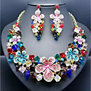 cheap Jewelry Sets-Women's Cubic Zirconia Hollow Out Trace Jewelry Set - Resin Flower Stylish, Romantic, Elegant Include Drop Earrings Bib necklace Green / Blue / Pink For Wedding Party