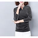 tanie Kozaki damskie-T-shirt Damskie Bawełna W serek Solidne kolory