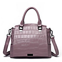 cheap Foundations-Women's Bags Cowhide Tote Solid Color Black / Light Purple