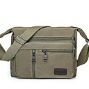 cheap Shoulder Bags-Men's Bags Canvas Shoulder Bag Zipper Solid Color Brown / Army Green / Khaki