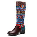 זול עגילים אופנתיים-בגדי ריקוד נשים Fashion Boots עור נאפה Leather סתיו חורף סגנון סיני מגפיים עקב נמוך מגפיים באורך אמצע - חצי שוק חום