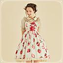 baratos Vestidos Lolita-Doce Casual Lolita Dress Guloseima Estilo bonito Feminino Vestidos Cosplay Branco Sem Mangas Sem Manga Midi Fantasias