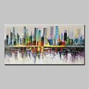 billige Abstrakte malerier-Hang malte oljemaleri Håndmalte - Abstrakt Landskap Moderne Uten Indre Ramme / Valset lerret