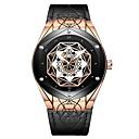 levne Vojenské hodinky-Tevise Pánské mechanické hodinky japonština Automatické natahování Pravá kůže Černá / Hnědá 30 m Voděodolné Svítící Cool Analogové Na běžné nošení Módní - Černá a zlatá Zlatohnědá