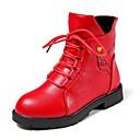 preiswerte Kleidersets für Mädchen-Mädchen Schuhe PU Winter / Herbst Winter Modische Stiefel Stiefel Walking Schnürsenkel für Kinder / Junior Schwarz / Schwarz und Silbern / Rot / Mittelhohe Stiefel