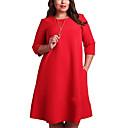 رخيصةأون معلقات الجدران-فستان نسائي قياس كبير كلاسيكي عصري أساسي طول الركبة أحمر لون سادة