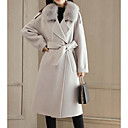 cheap Girls' Jackets & Coats-Women's Going out Long Jacket, Solid Colored Fold-over Collar Long Sleeve Polyester Gray L / XL / XXL
