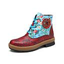 olcso Női csizmák-Női Közepesen magas szárú bakancs Nappa Leather Tavasz & Ősz Vintage Csizmák Lapos Bokacsizmák Piros